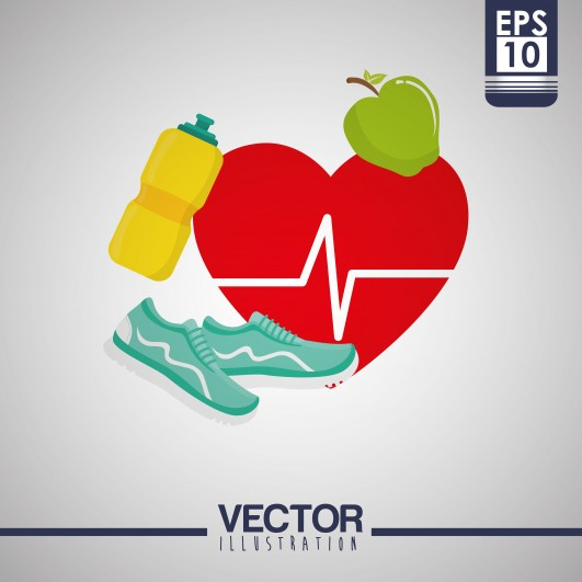 Healthy Lifestyle Concept With Gym Icon Design, Vector Illustration 10 Eps Graphic.
