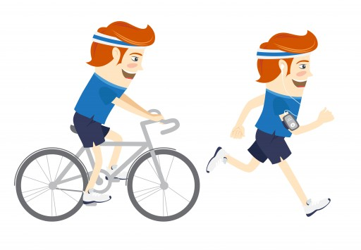Vector Illustration Set Of Hipster Funny Sportsmen Cycling And Running. Flat Style